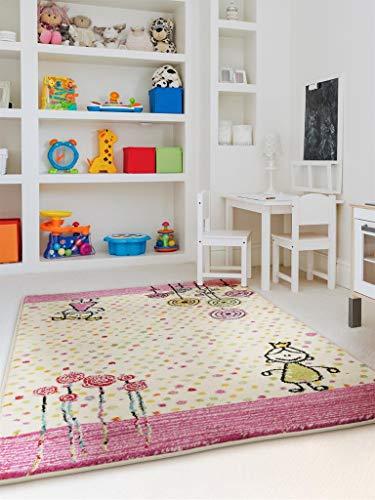 benuta Noa Princess - Alfombra Infantil (120 x 170 cm, Fibra sintética, 120 x 170 cm), Color Rosa