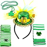 FiGoal 6 Pack St. Patrick's Day Accessories Decoration Costume Set Irish One Size Headband with Hat, Shamrock, Stocking, Pantyhose, Arm Sleeve Warmer, Necklaces Set Party Favor Supplies Irish Parades Costumes