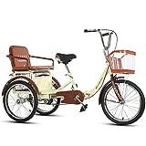 20' De 3 Ruedas para Adultos Triciclo De Bicicletas,Doble Trike Triciclo Pedal Ciclo Bici con El Carrito, Adecuados para Adolescentes,Señoras,Hombres,Beige