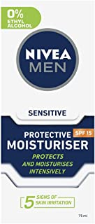 NIVEA MEN Protective Face Moisturiser for Sensitive Skin SPF15, with Chamomile & Hamamelis 75ml
