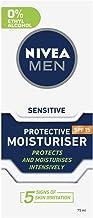 NIVEA MEN Protective Face Moisturiser for Sensitive Skin SPF15, with Chamomile & Hamamelis 75ml