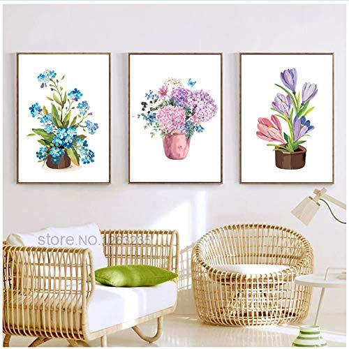 RuiChuangKeJi Nordic poster potplanten bloemen asperges decoratieve muurschilderingen voor woonkamer muurkunst canvas schilderij 3x50x70cm geen lijst