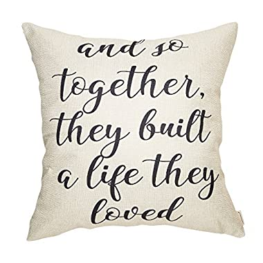 Fahrendom and So Together They Built a Life They Loved Farmhouse Style Sign Cotton Linen Home Decorative Throw Pillow Case Cushion Cover with Words for Sofa Couch, 18 x 18 in