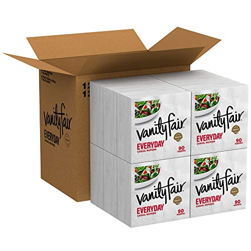 Vanity Fair Everyday Napkins, 1080 Count, White Paper Napkins, 90 Count (Pack of 12)