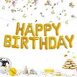 JZK Festone palloncini buon compleanno oro Happy Birthday palloncini pellicola di alluminio lettere alfabeto decorazione compleanno