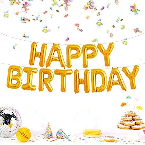 JZK Gold Buchstaben Happy Birthday Folie Ballons , Alles Gute zum Geburtstag Luftballons Banner Bunting Dekoration für Geburtstag Party Babyparty Kinder Party