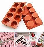 Hidewalker 2 paquetes de moldes de silicona con 8 agujeros para cupcakes, pudín, chocolate, jabón, DIY Mold Brownies (colorete, 2 x 8 moluses)