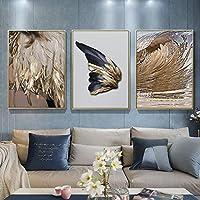 ゴールデンウィングスフェザーキャンバス絵画フェザーパターンモダン北欧抽象芸術ゴールデンフェザー家の装飾ポスター40X60cmX3pcsフレームレス