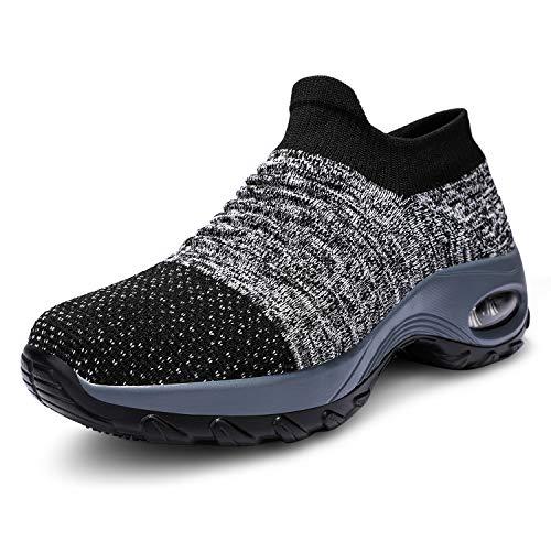 ANLUKE Women's Non Slip Walking Shoes Breathable Mesh Slip On Work Shoes Sneakers Comfort Platform Loafers Dark Grey 35