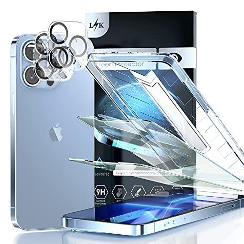 LϟK 4 Pack Protector de Pantalla Compatible con iPhone 13 Pro MAX 6.7 Pulgada con 2 Pack Cristal Vidrio Templado y 2 Pack Protector de Lente de Cámara - Anti Luz Azul HD Sin Burbujas Dureza 9H
