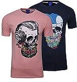 JACK & JONES Camiseta de manga corta para hombre con cuello redondo, diseño hipster de calavera, 2 unidades Rosa (Pink Icing/Total Eclipse Fit:Slim) S