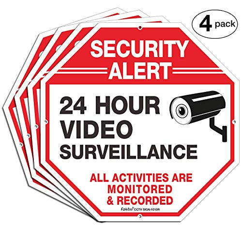 (4 Pack)'Security Alert, 24 Hour Video Surveillance, All Activities Monitored' Signs,10x10 Inches .040 Aluminum Reflective Warning Sign for Home Business CCTV Security Camera, Indoor or Outdoor Use