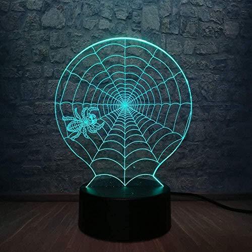 Animal Spider 3D LED Lampe Halloween Scary Scene 7 Farbwechsel Home Decoration Tisch Nachtlicht Atmosphäre,Mit Fernbedienungsschalter