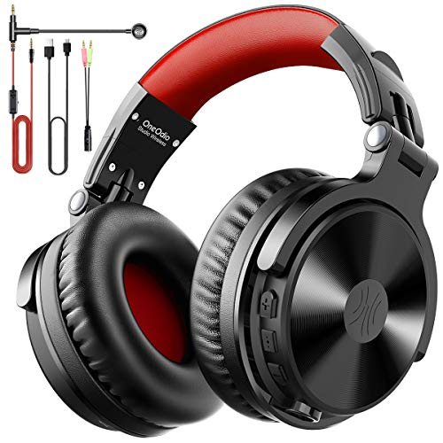 OneOdio Bluetooth Headphones Over Ear Wireless Bass Boosted Stereo Hi-Fi Sound 80 Hrs Playtime with Studio Music Level Sound Quality 50mm Neodymium Speaker Foldable Headphone with Mic