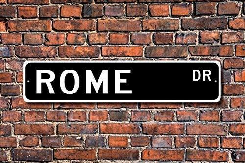 YelenaSign Señal de Roma de 4 x 16 Pulgadas, con Texto en inglés Roma Visitante Roma Recuerdo, Ciudad Italiana, Ciudad de Roma, Ciudad nativa Europea, Metal