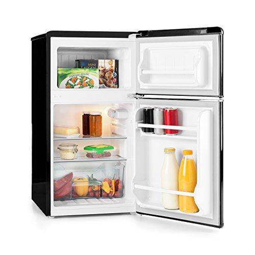 KLARSTEIN Monroe Black - Nevera con congelador, Retro, refrigerador de 61 l, congelador de 24 l, 2 estantes de Vidrio, 2 estantes en Las Puertas, 5 Niveles de enfriamiento, 40 dB, Negro
