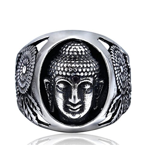 TIDOO Jewelry Punk Series Mens Vintage Gothic Biker Ring The Buddha Chrome Hearts Style Antique Black Silver 316L Stainless Steel Crystals Wide Cast Rock Finger Band Best Gift For Cowboy Knight Cavali