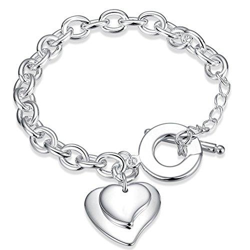 Faysting EU gioielli donna braccialetti bracciale argento cuore grande figura buon regalo natale san valentino argento (placcato argento)