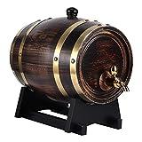 Ladieshow Botte per Vino, 3L Retro a Strisce Barrl Vino Brandy Botte di Whisky Rovere Secchio di Vino Rosso Contenitore Contenitore con Rubinetto e Staffa
