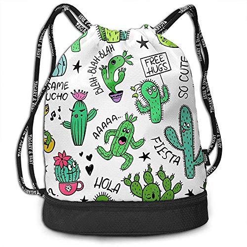 G.H.Y Sacs à Dos à Cordon Sacs Vert Cactus Motif Sports Gym Sackpack Tote Travel Rucksack