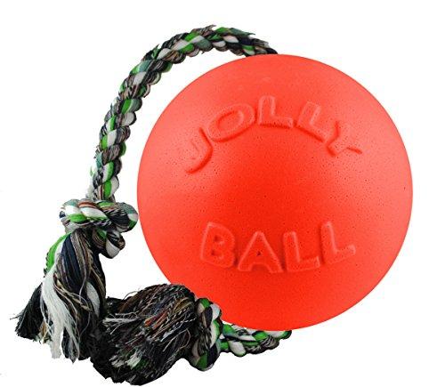 Jolly Pets Corda e bola de brinquedo para cães Romp-n-Roll, 11 cm, pequeno, laranja