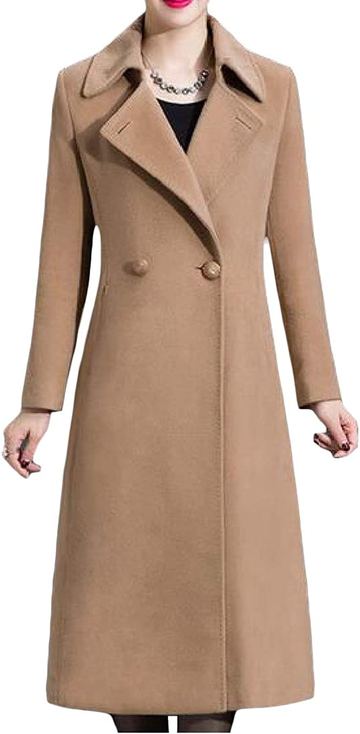 P&E Womens Elegant WoolBlended Double Breasted Belted Lapel Pea Coat