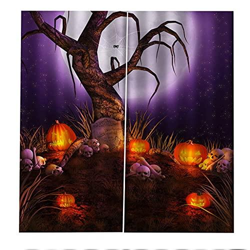 Cortinas Decorativas 3D Lámpara De Calabaza De Halloween Impresión Aislamiento Acústico Y Protección Uv Sala De Estar Dormitorio Balcón Habitación De Los Niños Cortinas Decorativas 2xW117xH138cm