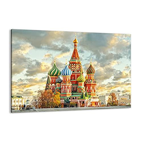 Cuadro sobre lienzo - Impresión de Imagen - Rusia moscú catedral cuadrado rojo - 120x80cm - Imagen Impresión - Cuadros Decoracion - Impresión en lienzo - Cuadros Modernos - AA120x80-2821