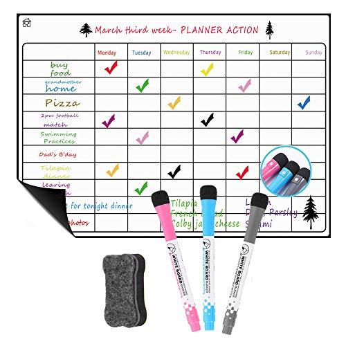 Pizarra magnética del refrigerador A3 - Horario semanal, Cronograma mensual, Refrigerador y Bloc de notas, Pizarra A4 Pizarra A3 con placa