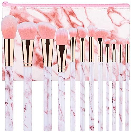 Pennelli Make Up Start Makers 12 pezzi Set di Pennelli per trucco In Marmo Rosa Con Polvere Ombretto Correttore Per Labbra Correttore Portapennelli Make Up Con Soffici Fibre Sintetiche(rosa) (Rose11)
