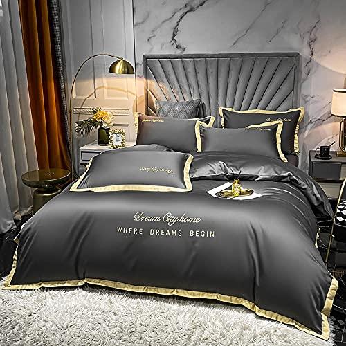 juegos de sábanas de 160x200,Conjunto de colchas de lino de cama de cuatro conjuntos, colores sólidos europeos lavado de agua seda cómoda reversible de la cama de respiradero para padres regalos fami