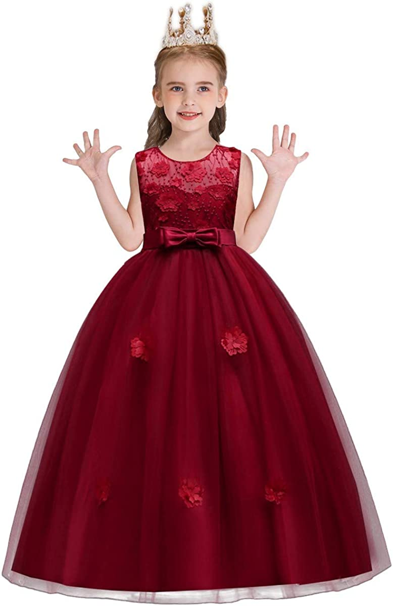 MYRISAM Little/Big Girls Tulle Lace Pageant Party Wedding Dress Birthday Sleeveless Bowknot Floor Length Dance Evening Gown