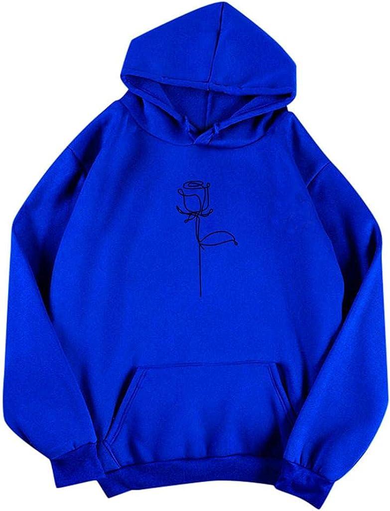 Fudule Cute Hoodies for Teen Girls Vintage Rose Graphic Y2K Sweatshirts with Pocket Casual Fleece Pullover Loose Hooded