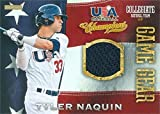 Tyler Naquin player worn jersey patch baseball card (Cleveland Indians, Team USA) 2014 Panini Collegiate Game Gear #19 Rookie. rookie card picture