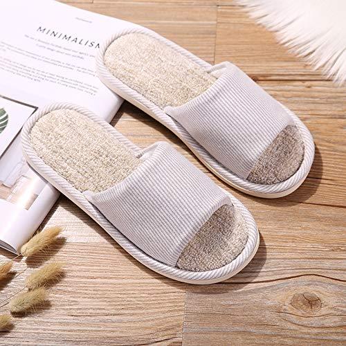 KKMOCK Four Seasons - Zapatillas de lino y algodón para interiores, transpirables, antideslizantes, de verano, para hombres y mujeres en casa