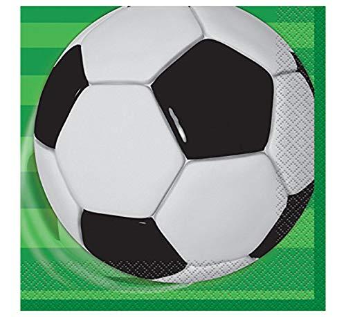 Unique Party - 27302 - Paquet de 16 Serviettes en Papier Football, Vert