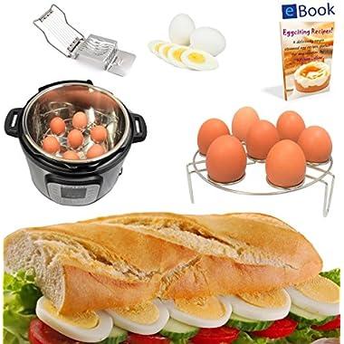 PREMIUM Egg Rack Steamer - 7 Eggs - BEST Bundle - Fits Instant Pot Pressure Cooker 6 Qt & 8 Quart - 100% Stainless Steel - BONUS Accessories - Wire Slicer + eBook | For Instapot – Insert