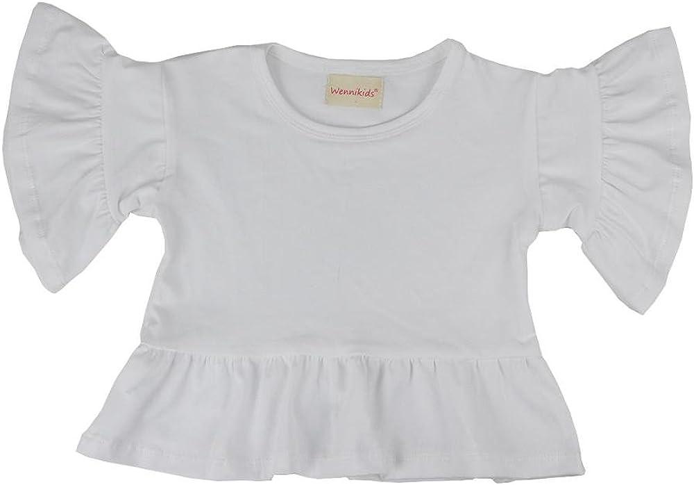 Wennikids Baby Little Girls' Short Ruffle Sleeve Round Neck T-Shirt