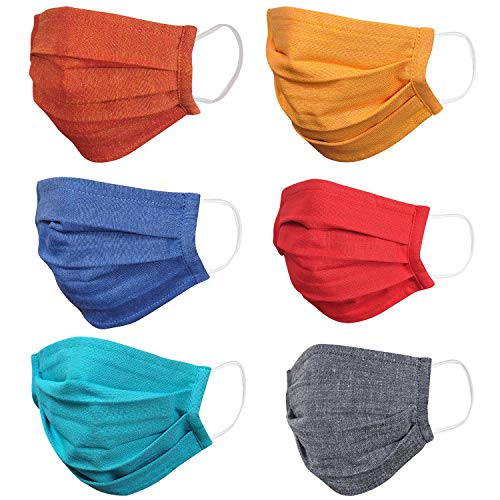 Crunchy Fashion Reusable/Washable 2 Ply/Layer Anti Dust/Pollution Unisex Cotton Cloth Face/Nose/Mouth Cover Mask, MultiColor Pack (Pack of 6)