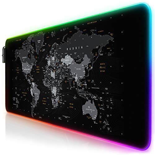 TITANWOLF - RGB Tappetino per Mouse da Gioco XXL - Mouse Pad Gaming - 800x300mm - 11 LED Colori e Effetti di Luce - Precisione e velocità - Lavabile - per Computer PC e Laptop - Mappa del Mondo