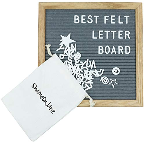 ShameOnJane Changeable 10 x10 Felt Letter Board - Oak Wood Frame - with Pre Cut Letters and Symbols for a Message Board, Letter Sign for Announcements, Menus and Home Decoration (grey)