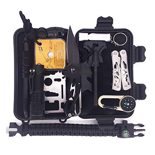 AMAIRS Kit De Supervivencia, Kit De Supervivencia De Herramientas Múltiples para Acampar con Linterna Pulsera con Bolígrafo Táctico - para Caminar Aventura Salvaje