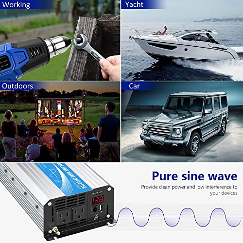 Power Inverter Pure Sine Wave 1200Watt 12V DC to 110V 120V with Remote Control Dual AC Outlets and USB Port for RV Car Solar System Emergency
