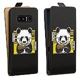 Tasche kompatibel mit Samsung Galaxy Note 8 Duos Flip Hülle Hülle Schwarz Panda Design Japan