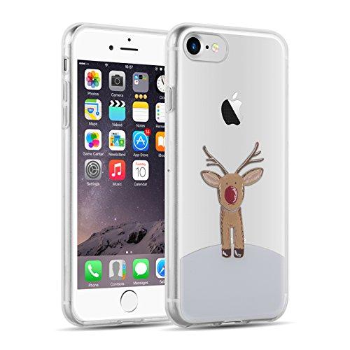JAMMYLIZARD Xmas Hülle für iPhone 8 & iPhone 7 | Transparente Schutzhülle Gel Weihnachts-Sketch Back Cover Hülle aus Silikon, Rudolf