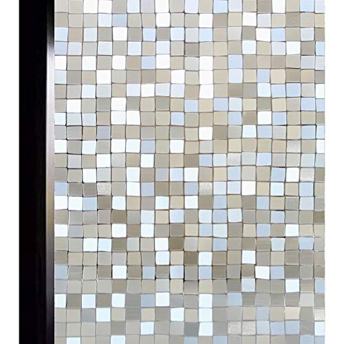 DUOFIRE Window Film Privacy 3D Decorative Window Film Static Cling Window Door Covering No Glue for Home Office Sun Blocking, Big Mosaic 17.7 x 78.7 in. DL014