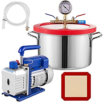 VEVOR 1.5 Gallon Stainless Steel Degassing Vacuum Chamber with 2.5CFM 1/4HP Vacuum Pump Kit  2.5CFM Vacuum Pump Single Stage + 1.5 Gallon Vacuum Chamber
