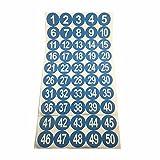 2 'Número Ronda 1-50 engomadas adhesivas Identificar etiquetas de almacenamiento de inventario azules