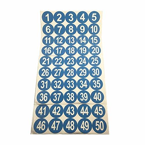 """2 """"Número Ronda 1-50 engomadas adhesivas Identificar etiquetas de almacenamiento de inventario azules"""