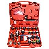 COKCOL 28Pcs Radiator Pressure Tester Vacuum Cooling System Kit, Universal Automotive Coolant Vacuum Leak Test with Adapters, Case